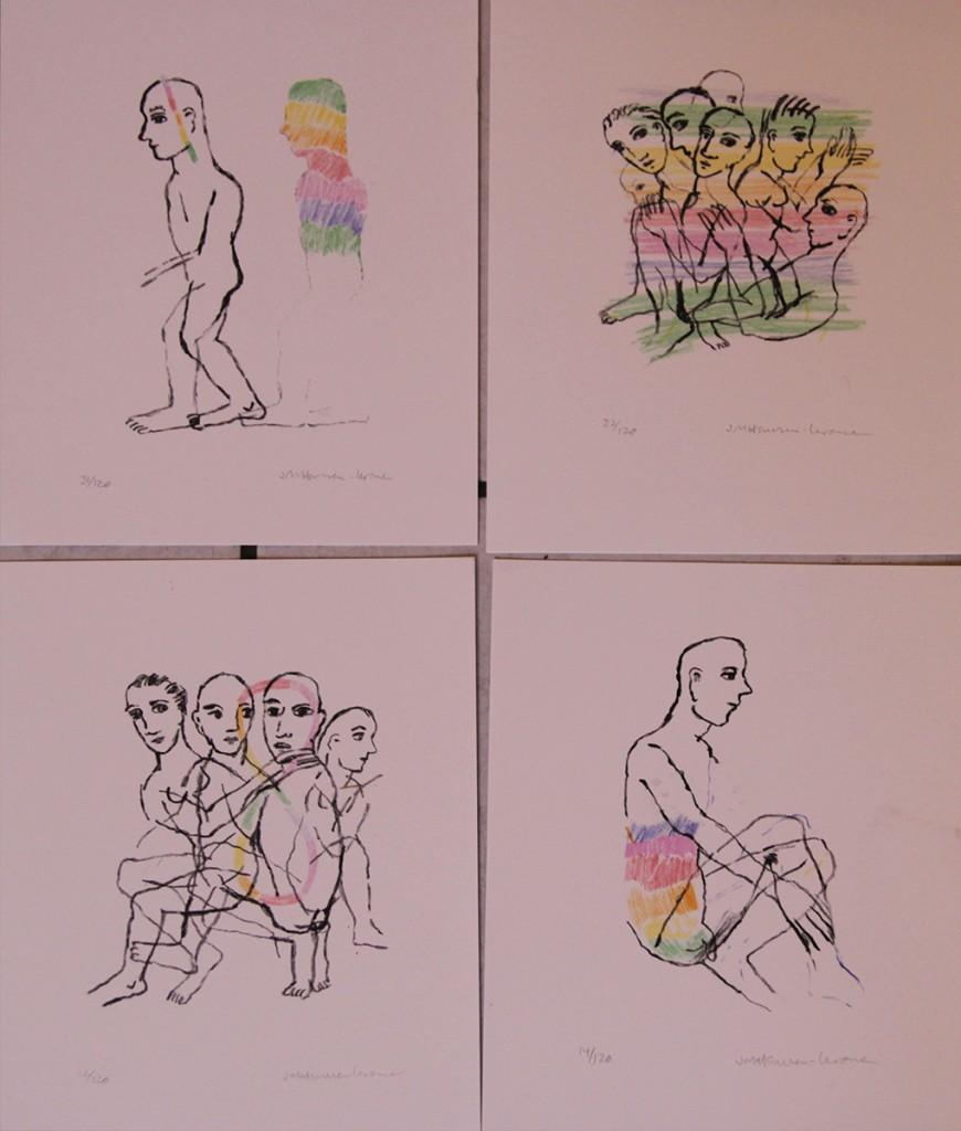 4 små litografier a 14 000,-
